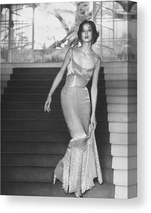 Timeincown Canvas Print featuring the photograph Evening Dress Designed By A California D by Gordon Parks