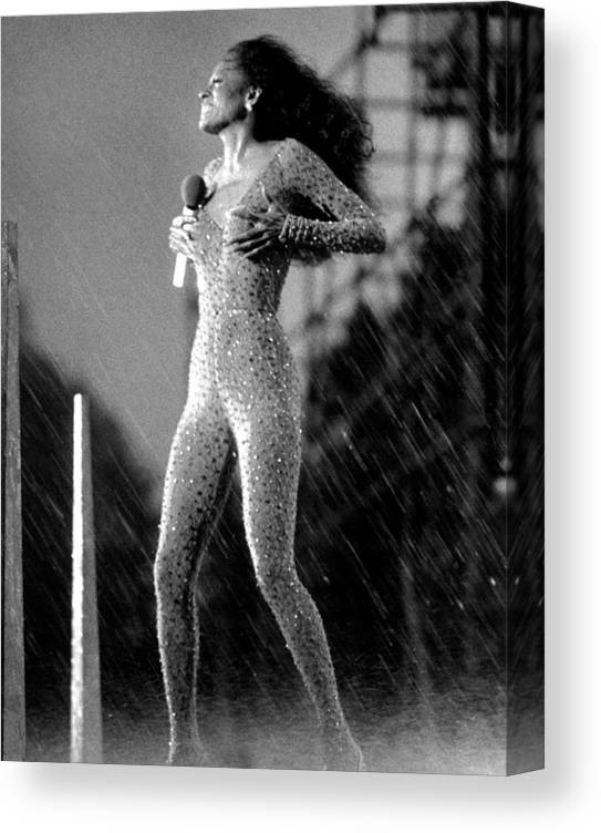 Singer Canvas Print featuring the photograph A Torrential Downpour, With Winds by New York Daily News Archive