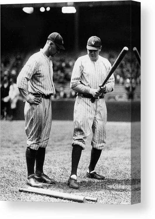 American League Baseball Canvas Print featuring the photograph Babe Ruth Lou Gehrig 1923 by Transcendental Graphics