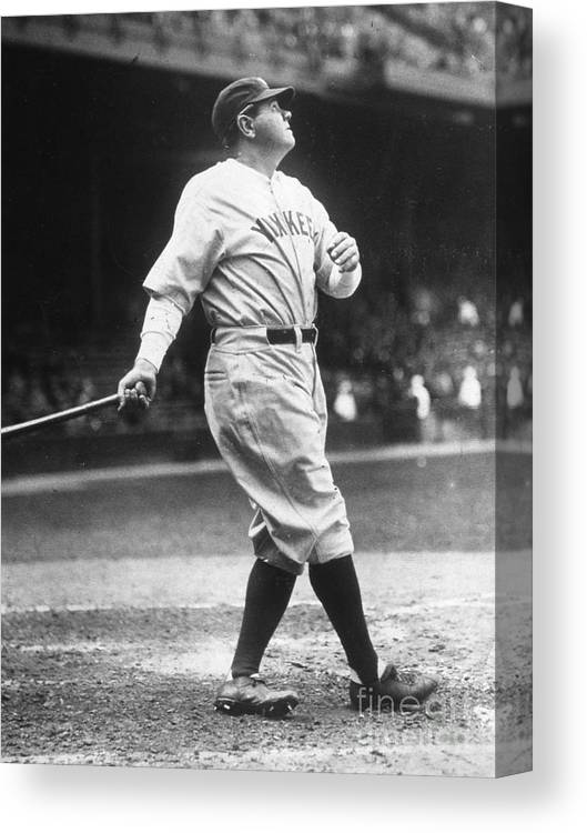 People Canvas Print featuring the photograph Babe Ruth Watches One Fly by Transcendental Graphics