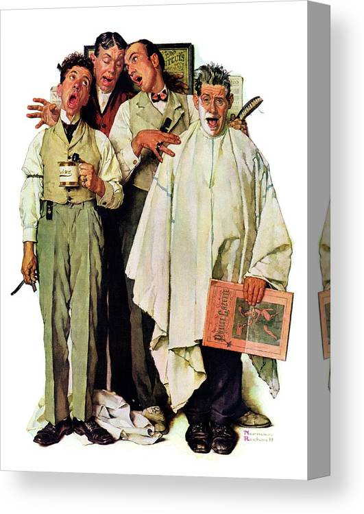 Barbers Canvas Print featuring the drawing Barbershop Quartet by Norman Rockwell