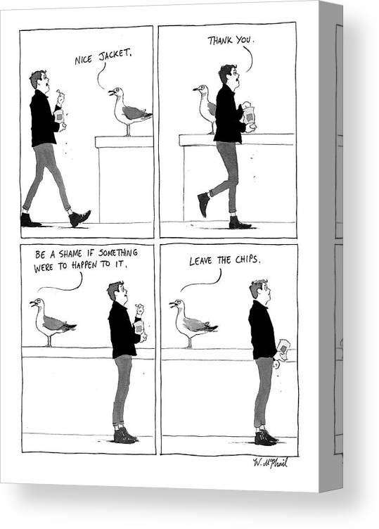 Seagull Canvas Print featuring the drawing Bullying Bird by Will McPhail