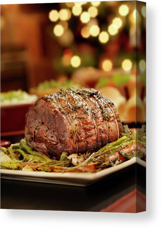Roast Dinner Canvas Print featuring the photograph Christmas Roast Beef Dinner by Lauripatterson