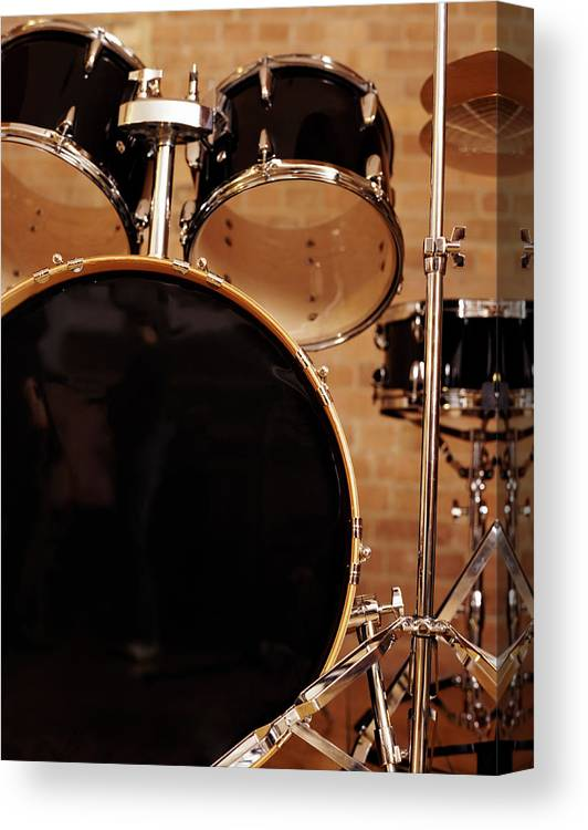Microphone Stand Canvas Print featuring the photograph Close-up Of A Drum Kit by Digital Vision.