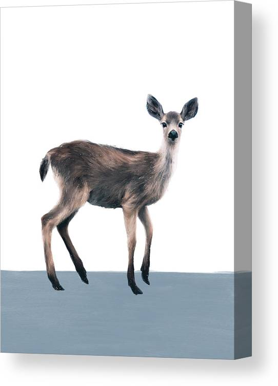 Deer Canvas Print featuring the painting Deer on Slate Blue by Amy Hamilton