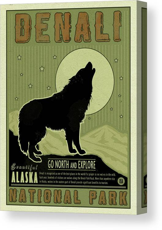 Denali Wolf Canvas Print featuring the mixed media Denali Wolf by Old Red Truck