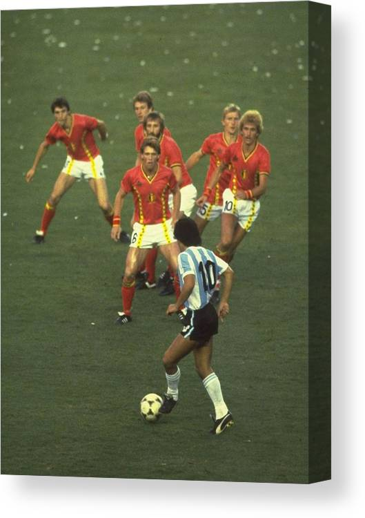 International Match Canvas Print featuring the photograph Diego Maradona by Steve Powell