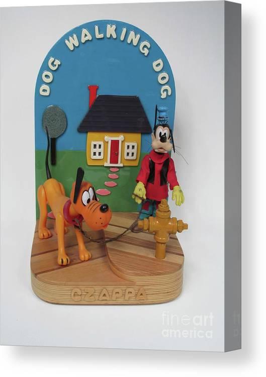 Czappa Canvas Print featuring the sculpture dog Walking Dor by Bill Czappa