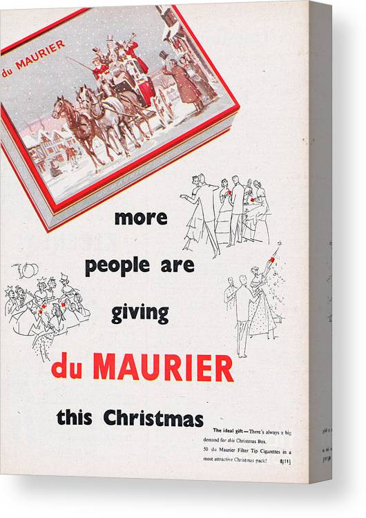 People Canvas Print featuring the photograph Du Maurier Cigarettes by Picture Post