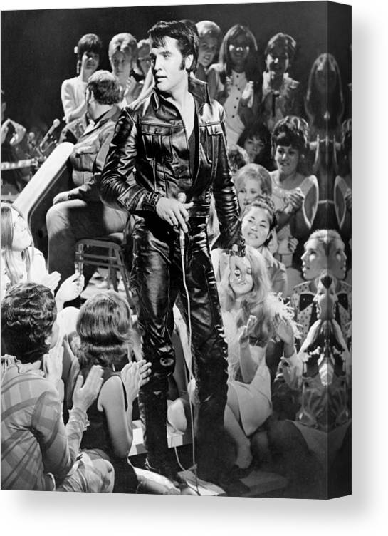 Music Canvas Print featuring the photograph Elvis Presley 68 Comeback Special by Michael Ochs Archives