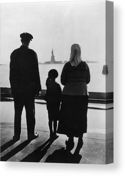 People Canvas Print featuring the photograph Family Views Statue Of Liberty From by Fpg