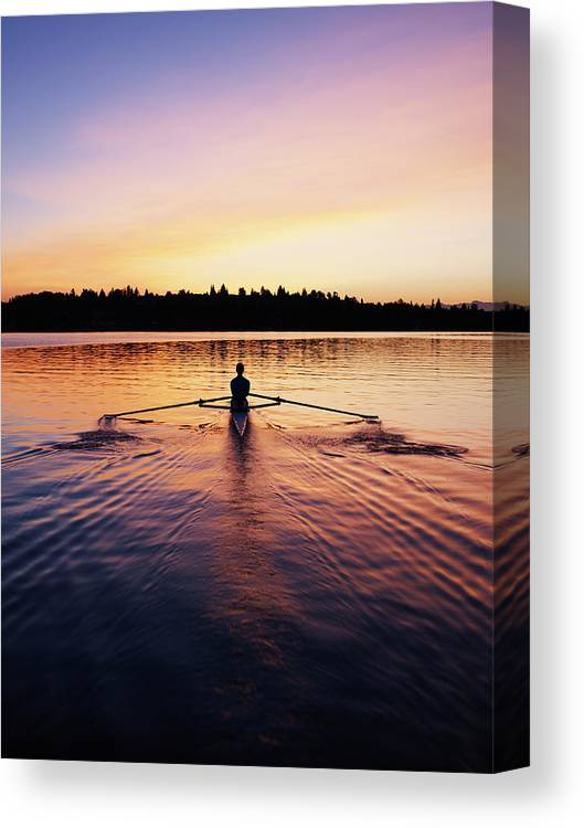 Tranquility Canvas Print featuring the photograph Female Rowing Single Scull, Sunrise by Thomas Barwick