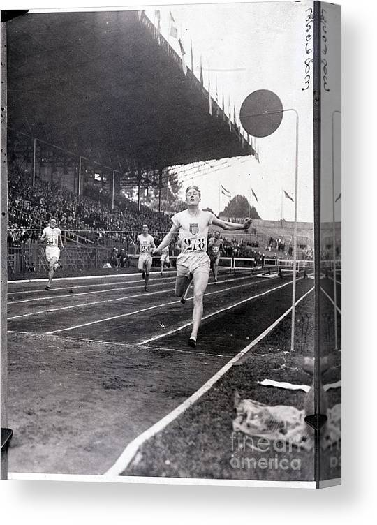 The Olympic Games Canvas Print featuring the photograph F.m. Taylor Wins 400 Meter Olympic by Bettmann