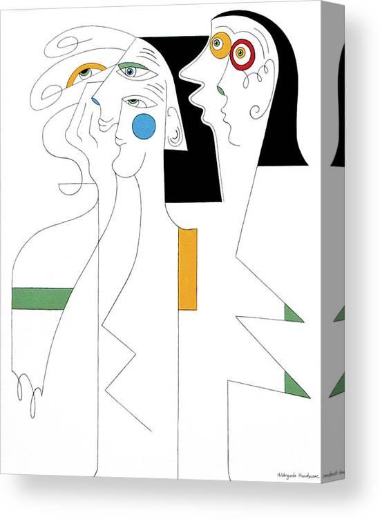 Horror People Eyes Modern Humor White Canvas Print featuring the painting Horror by Hildegarde Handsaeme
