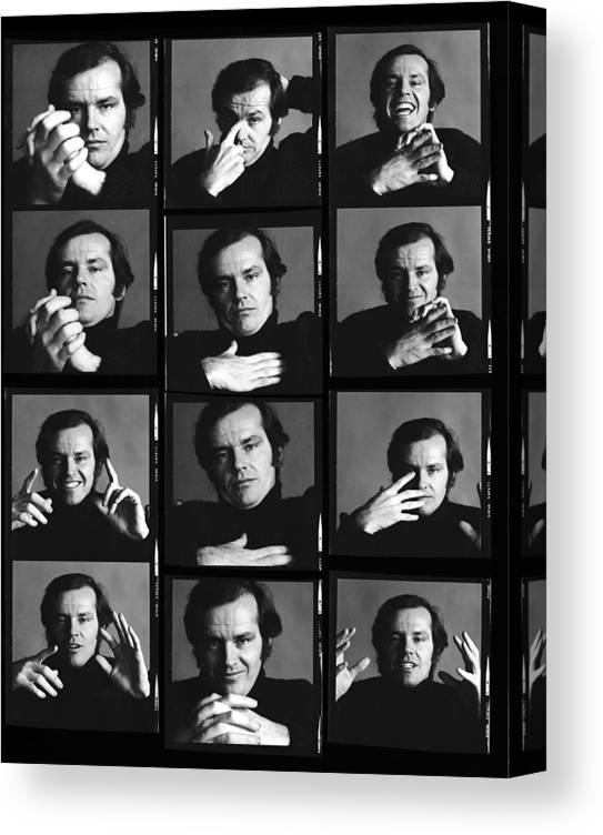 People Canvas Print featuring the photograph Jack Nicholson Contact Sheet by Jack Robinson