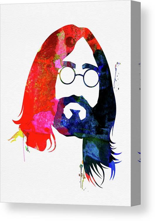 John Lennon Canvas Print featuring the mixed media John Watercolor by Naxart Studio