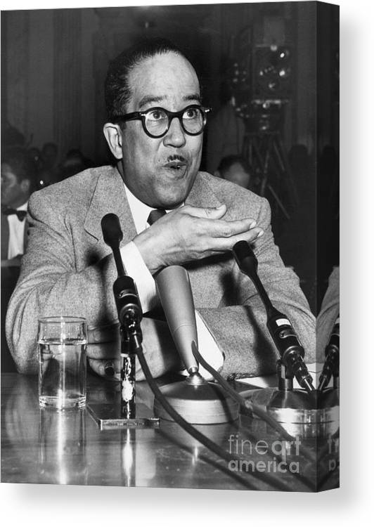 People Canvas Print featuring the photograph Langston Hughes Testifying by Bettmann
