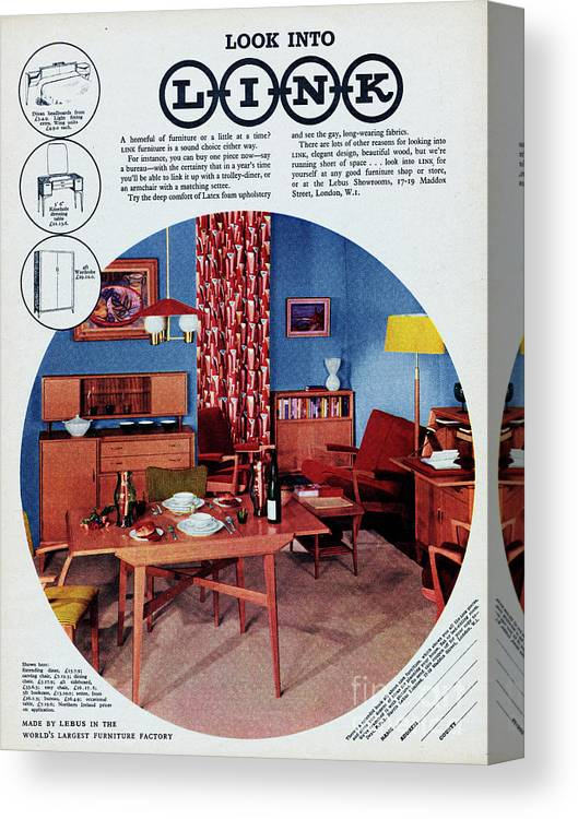 1950-1959 Canvas Print featuring the photograph Link Furniture by Picture Post