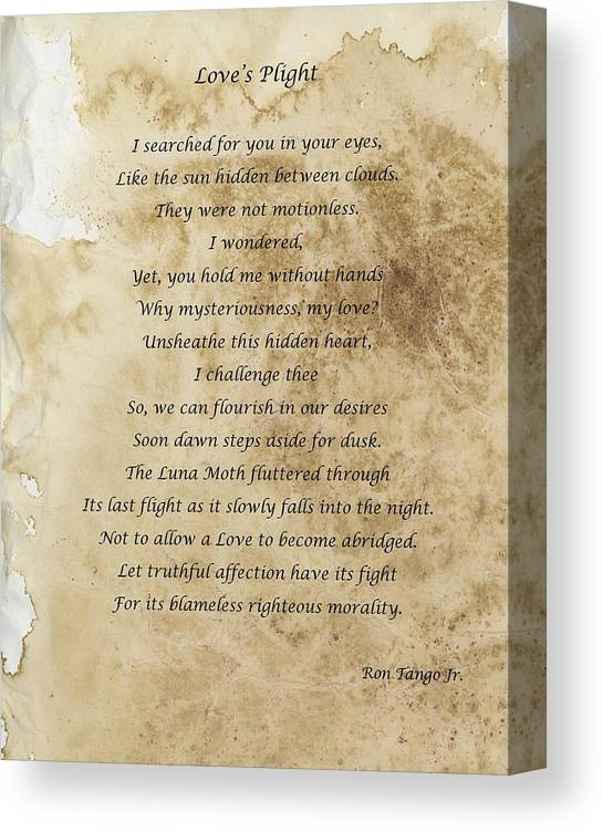 Love Canvas Print featuring the photograph Love's Plight by Ron Tango Jr