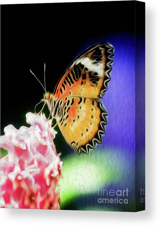 Butterfly Canvas Print featuring the digital art Malay Lacewing Butterfly I by Kenneth Montgomery