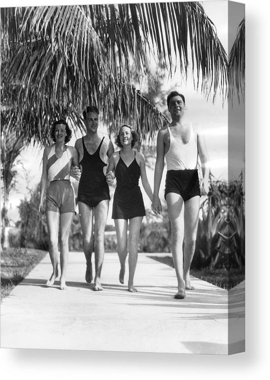 People Canvas Print featuring the photograph New Yorkers In Bermuda, 1932 by The New York Historical Society