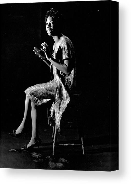 Singer Canvas Print featuring the photograph Nina Simone by Herb Snitzer