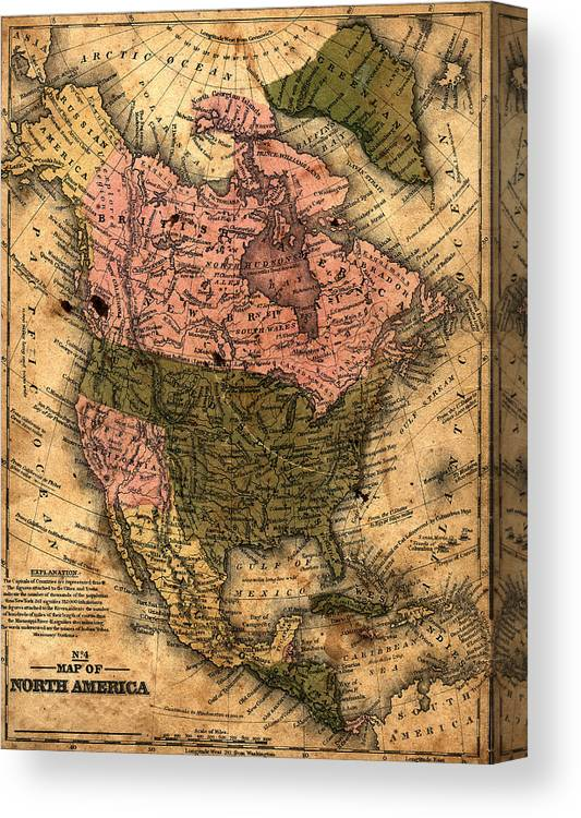 Outdoors Canvas Print featuring the photograph Old North America Map by Belterz