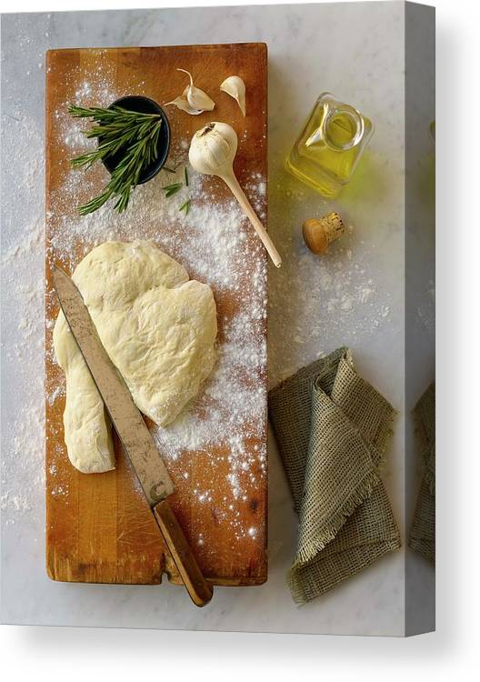 Cutting Board Canvas Print featuring the photograph Pizza Dough And Ingredients On Cutting by Brian Macdonald