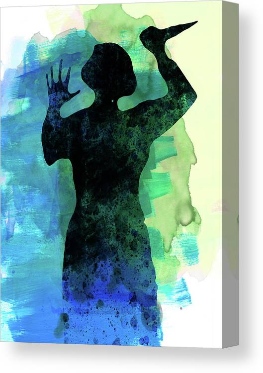 Movies Canvas Print featuring the mixed media Psycho In The Shower Watercolor by Naxart Studio