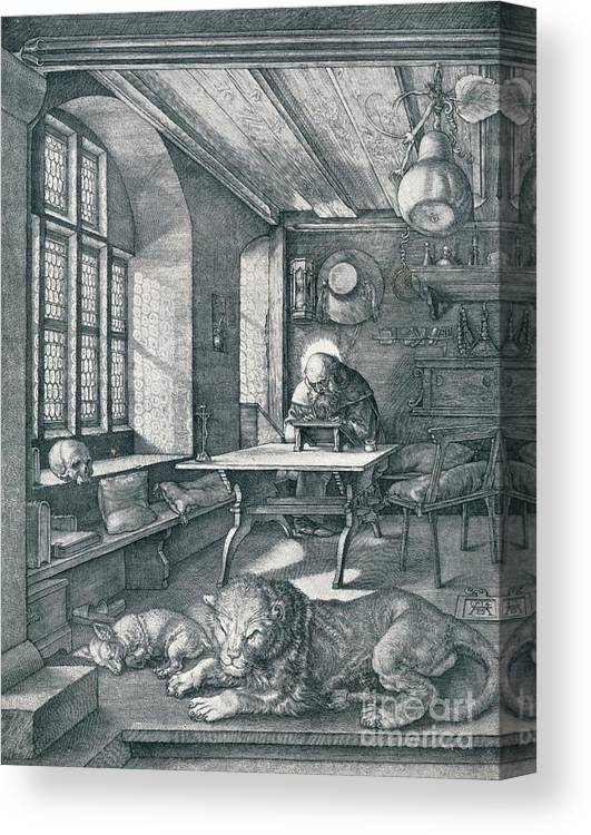 Working Canvas Print featuring the drawing St Jerome In His Study, 1514 1906 by Print Collector