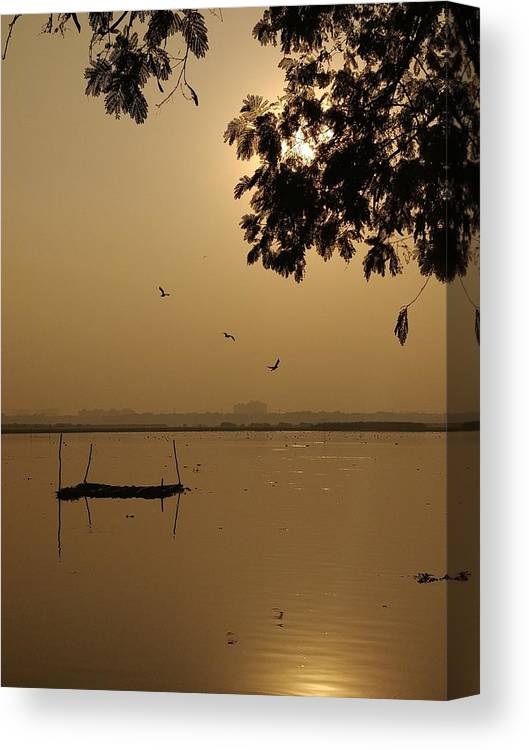 Sunset Canvas Print featuring the photograph Sunset by Priya Hazra