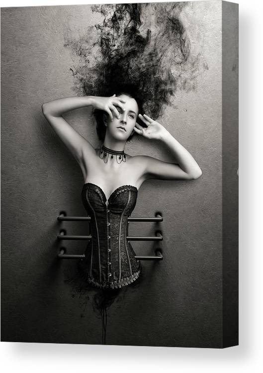 Woman Canvas Print featuring the photograph Trapped by Johan Swanepoel