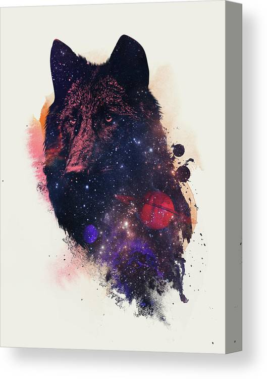 Universal Wolf Canvas Print featuring the painting Universal Wolf by Robert Farkas