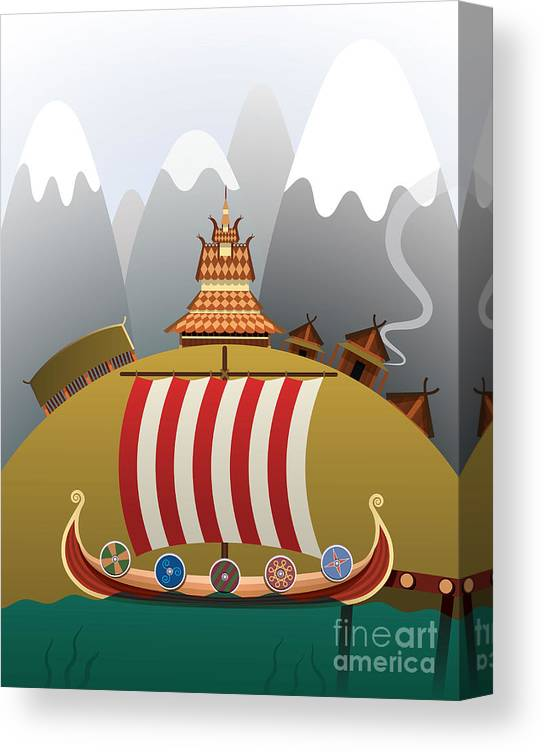 Illustrations Canvas Print featuring the photograph Viking Ship by Nikola Knezevic