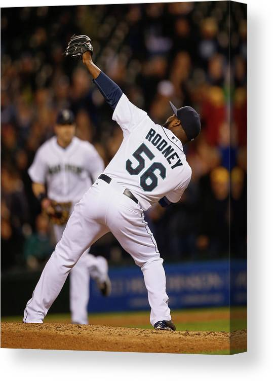 American League Baseball Canvas Print featuring the photograph Fernando Rodney by Otto Greule Jr