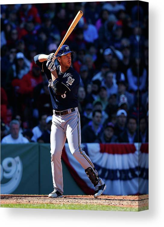 American League Baseball Canvas Print featuring the photograph Ryan Braun by Jared Wickerham