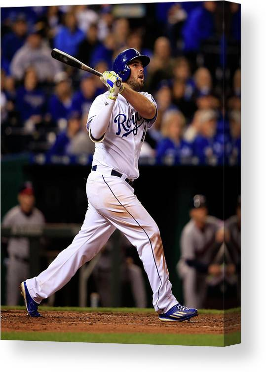 People Canvas Print featuring the photograph Mike Moustakas by Jamie Squire