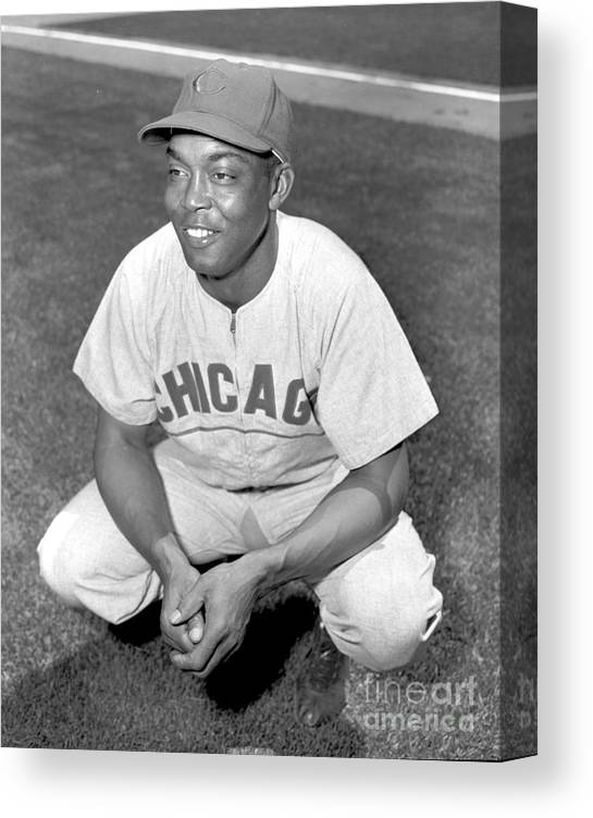 1950-1959 Canvas Print featuring the photograph Monte Irvin by Kidwiler Collection