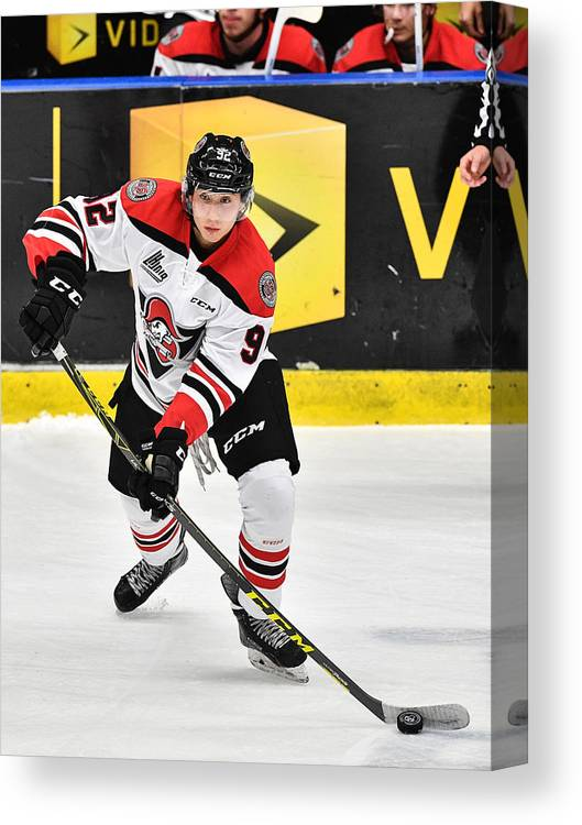 People Canvas Print featuring the photograph Drummondville Voltiguers v Blainville-Boisbriand Armada by Minas Panagiotakis