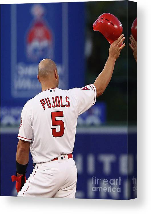 Headwear Canvas Print featuring the photograph Albert Pujols and Babe Ruth by Victor Decolongon