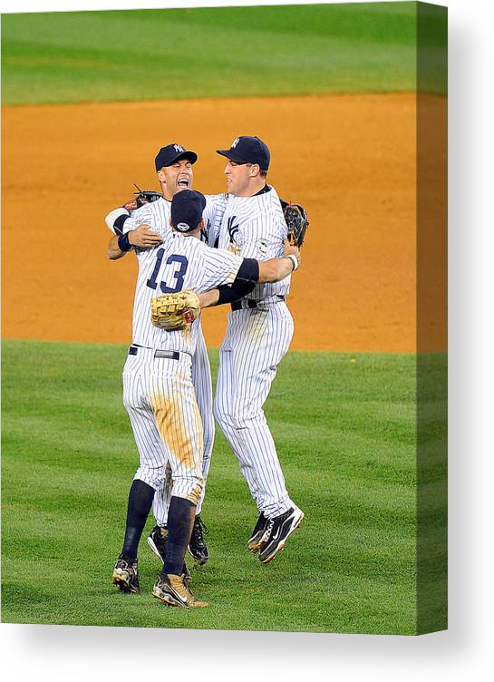 American League Baseball Canvas Print featuring the photograph Alex Rodriguez, Mark Teixeira, and Derek Jeter by New York Daily News Archive