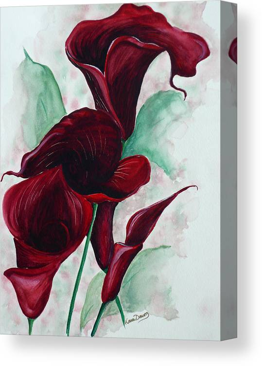 Flower Painting Floral Painting Botanical Painting Tropical Painting Caribbean Painting Calla Painting Red Lily Painting Deep Red Calla Lilies Original Watercolor Painting Canvas Print featuring the painting Black Callas by Karin Dawn Kelshall- Best