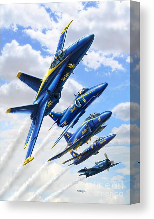Blue Angels Canvas Print featuring the digital art Blue Angels Heritage by Stu Shepherd