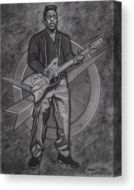 Texas Canvas Print featuring the drawing Bo Diddley - Have Guitar Will Travel by Sean Connolly