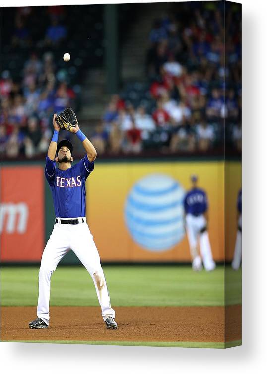 American League Baseball Canvas Print featuring the photograph Carlos Santana by Rick Yeatts