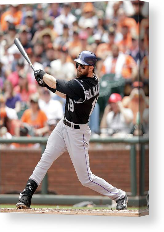 San Francisco Canvas Print featuring the photograph Charlie Blackmon by Ezra Shaw