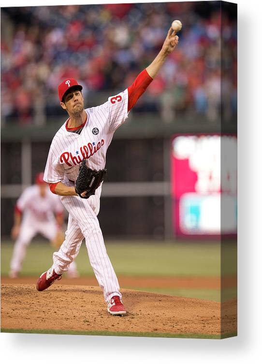 People Canvas Print featuring the photograph Cole Hamels by Mitchell Leff