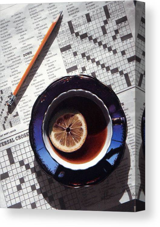Still Life Canvas Print featuring the painting Crossword by Dianna Ponting