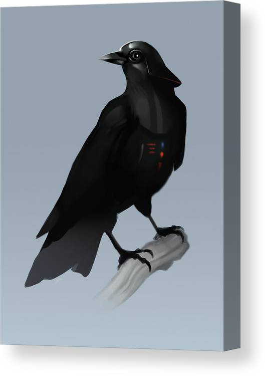 Birds Canvas Print featuring the digital art Crow Vader by Michael Myers