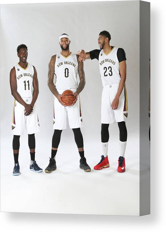 Nba Pro Basketball Canvas Print featuring the photograph Demarcus Cousins, Jrue Holiday, and Anthony Davis by Layne Murdoch